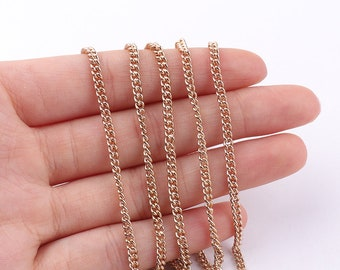 Gold chains 2mm(w) Necklace Chain Jewelry Chain Cable Chain Bulk Chain fashion chain Jewelry Supplies
