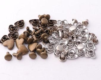 30pcs Rivets 8mm Bronze Silver Heart Rivet Studs heart studs Rapid Rivet Studs for Purses Bags Leathercraft Decorations