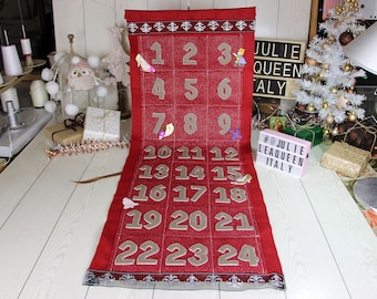 Calendar advent fort kids toys, parchment in medieval style.