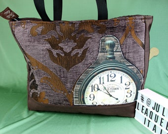 Rustic bag antique effect in steampunk style with clock applied