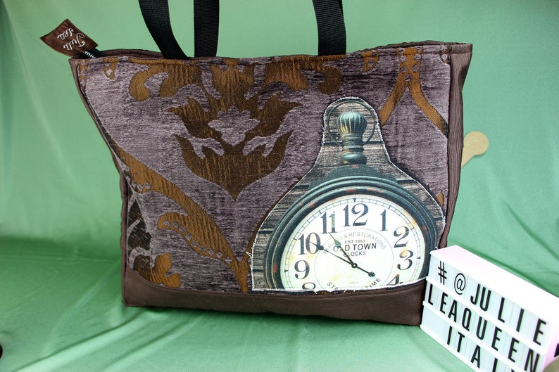 Rustic bag antique effect in steampunk style with clock image 0