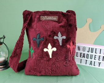 Handmade handbag in medieval style with lily applied in felt