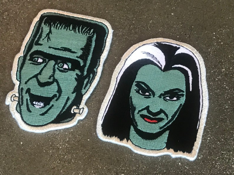 The Munsters Herman & Lilly Iron-On Patch / Addams Family 60s image 0
