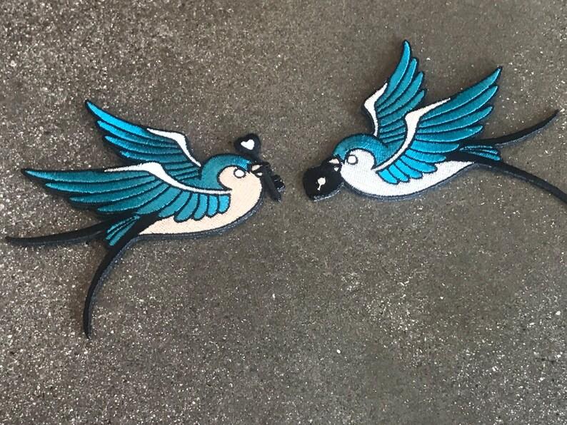 Swallows Key & Lock Iron-On Patch / Locket Female Male image 0