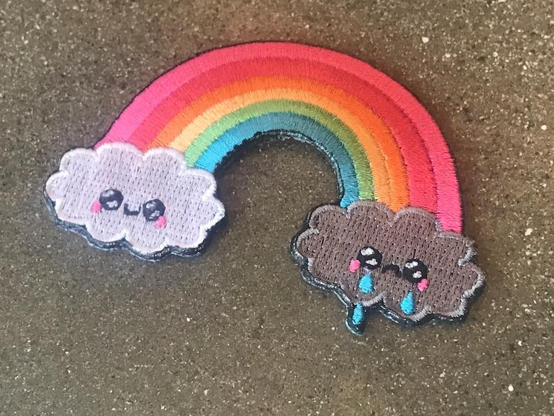 Happy Sad Rainbow Cloud Iron-On Patch / Kawaii Rain Raining image 0