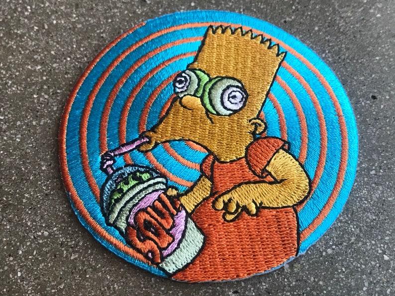 Brain Freeze Bart Iron-On Back Patch / The Simpsons Spy Vs Spy image 0