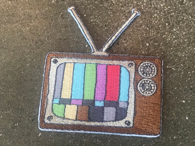 TV Iron-On Patch / Retro Color Television Vintage Rabbit Ears image 0