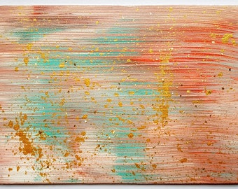 Original mini abstract acrylic painting on canvas board, peach, teal and gold, 7 x 5, home decor