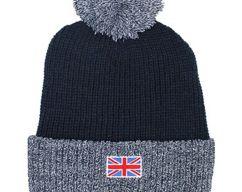 12a29bf8ea6 Men s Great Britain Union Jack Chunky Knit Thermal Winter Bobble Hat