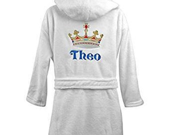 Personalised Crown Prince Super Soft Fluffy Hooded Bathrobe Dressing Gown     Boys Gifts    Holiday    Birthday Gifts 279edfe95