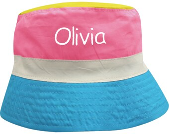 77f2d820750 Personalised Girl s Rainbow Summer Sun Bucket Hat with Embroidered Name     Holiday Essentials    Children s Gifts