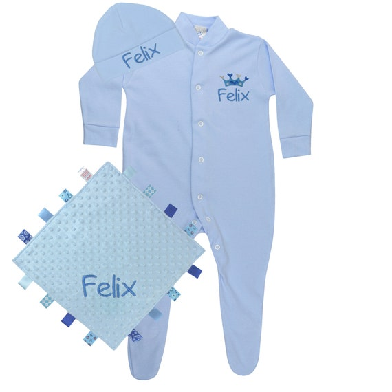 Personalised Gift Baby Boy s Sleepsuit Sleep Hat    a6c3fa7695b