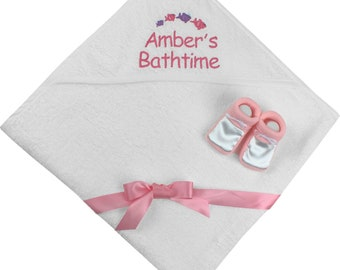 Personalised Gift Set Baby Girl's Hooded Bath Towel with Satin Shoes