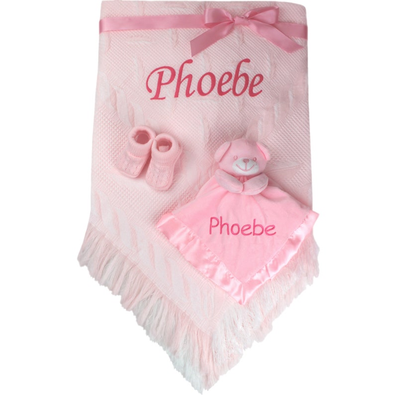 Personalised Gift Baby Girl/'s Pink Shawl Blanket /& Booties Set