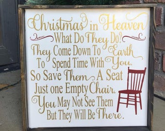 Christmas In Heaven | Canvas | Christmas | Heaven | Framed Canvas | Farmhouse Christmas | Remembering Loved Ones | Memorial Gift