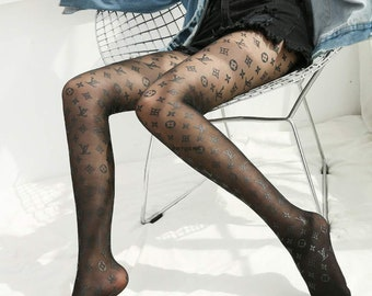 87c5fedd905 Black Monogram Style Designer Lace High-WAIST Tights Pantyhose Stockings  Tulle socks