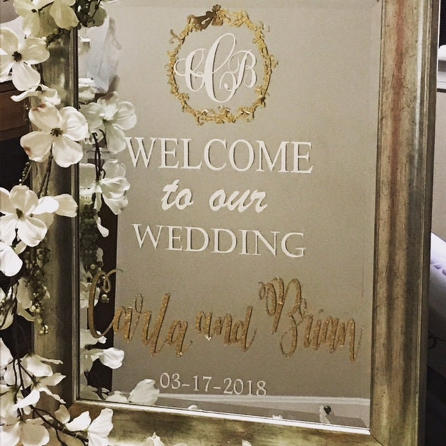 Wedding Mirror Welcome Sign Mirror Welcome Sign