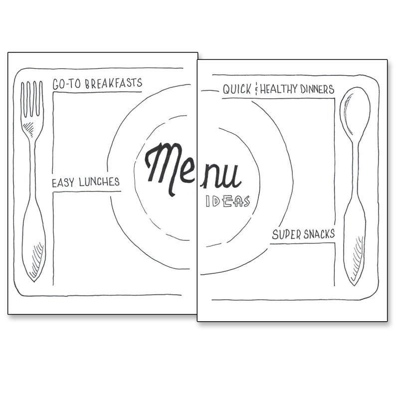 photograph about Bullet Journal Printable Pages named Menu Recommendations - Bullet Magazine Printable Internet pages