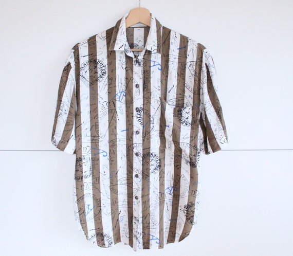 Vintage Striped White Shirt Short Sleeve Button Up