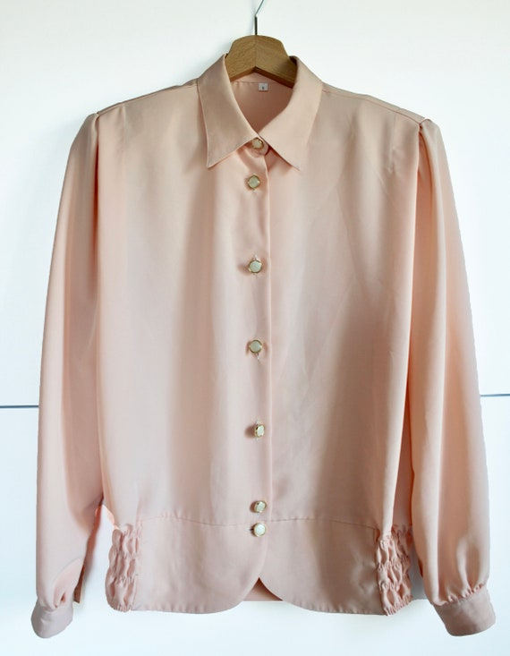 Tie Waist Blouse  Vintage 80s Ruffled  Long Sleeve Button Crop top  Embellished Shirt Size Large