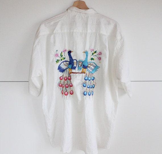Vintage 90s Birds Embroidered Unisex Shirt White O