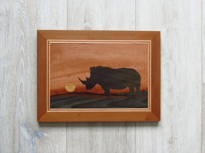 Rhino Wood Wall Art Animal Wall Decor Rhinoceros Wall Art Wood Mosaic Art African Animals African Savanna Marquetry Wood Inlay Art