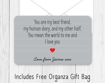 Personalised DOUBLE SIDED You/'re My Lobster Metal Wallet Card Birthday Gift