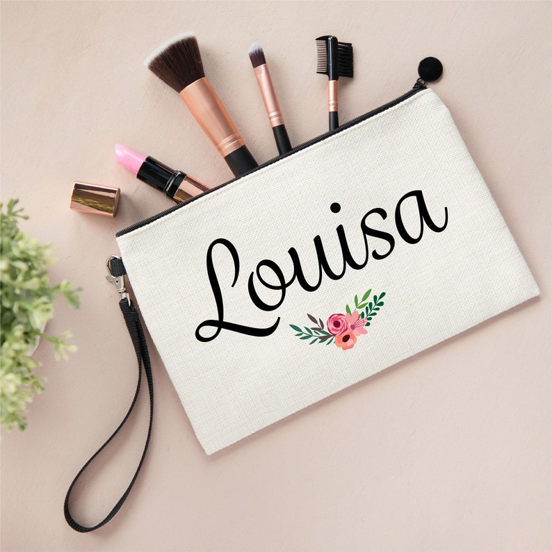 Bridesmaid Bag Bridesmaid Gift Name Make Up Bag Personalised Name Flowers Linen Style Make Up Bag Pouch Personalised Make Up Bag