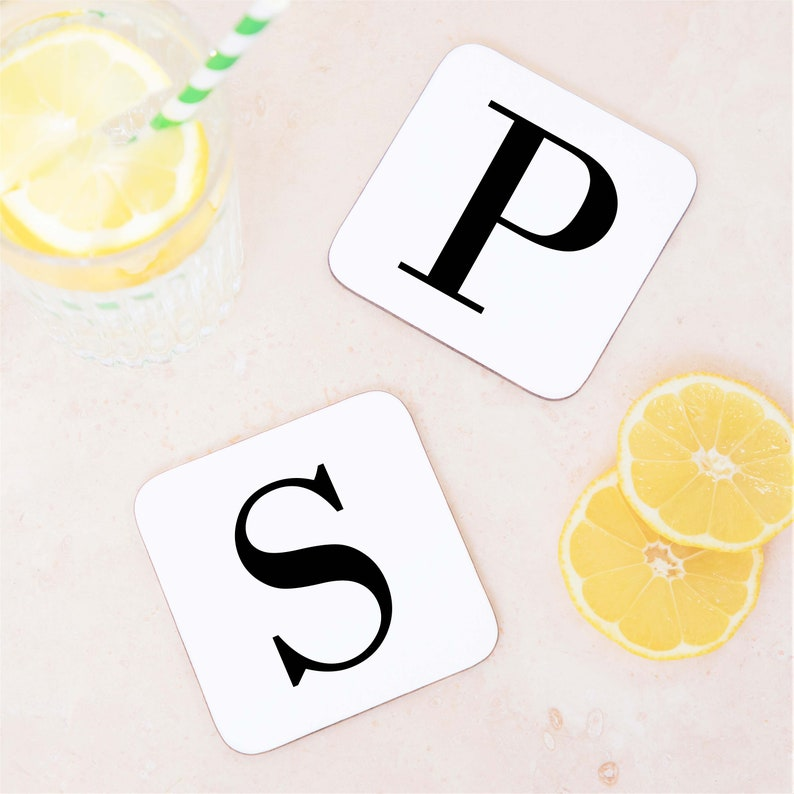 Large Letter Alphabet Initial Drinks Wooden Coaster Mat Gift For Him Gift for Her Personalised Gift Personalised Initial Coaster