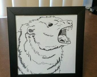 Ink Bear Roaring