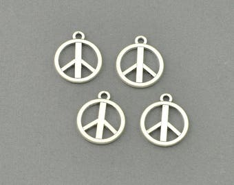 Antique Silver Tone Peace Sign Charm (AS00-0052)