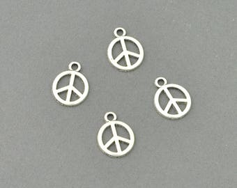 Antique Silver Tone Peace Sign Charm (AS00-0012)