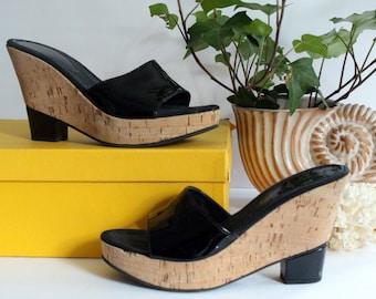 46f2b92622c5 Women s Designer Black Fendi Cork Wedges Size 37 Platform Boho Bohemian  Trendy