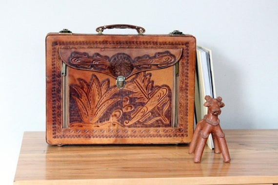 Vintage Hand Tooled Leather Briefcase by Cheney En