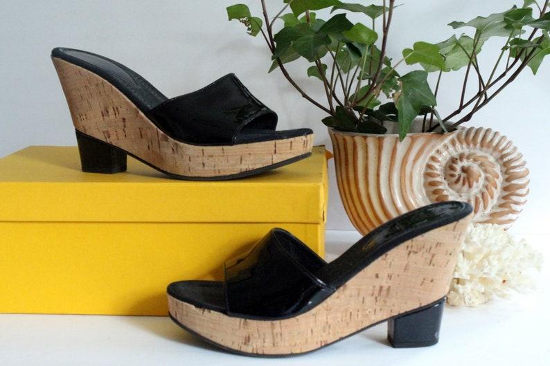 official images 50% off outlet store sale Women's Designer Black Fendi Cork Wedges Size 37 Platform | Etsy