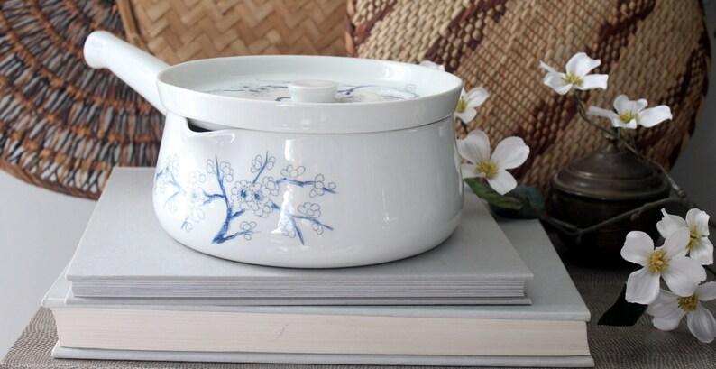 Vintage Porcelaine de Paris Pot with Aubepine Pattern French Casserole  Farmhouse Chic Kitchen Tools Ceramic France Limoges Chic Parisian Apt