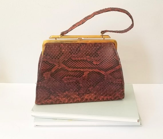 Vintage Brown Snakeskin Handbag Snakeskin Purse Ta