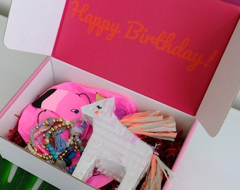 Birthday Box for her - Birthday Box for best friend - Gift for her - Birthday in a box - Unicorn Gift Flamingo Birthday Basket for woman