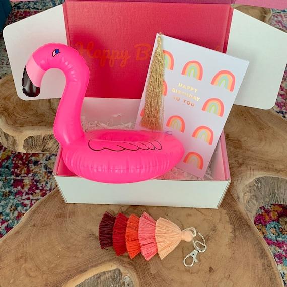 Birthday Box Gift For Her Fun Birthday Basket For Best Friend Birthday Card Flamingo Birthday Gift