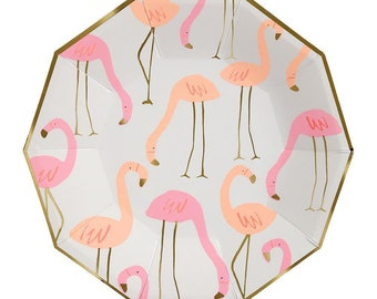 Flamingo Party decor, flamingo plates, flamingo cups, flamingo napkins, tropical party plates, flamingo neon party plates and napkins