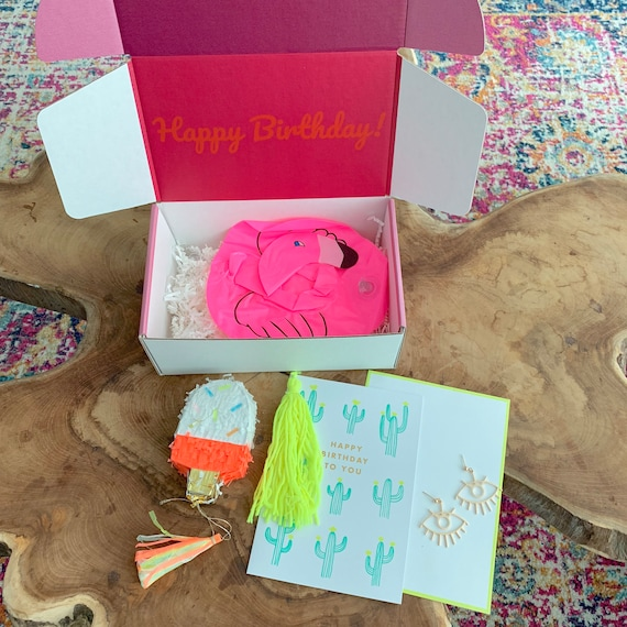 Birthday Basket For Her Best Friend Box Gift Flamingo Delivery Surprise January