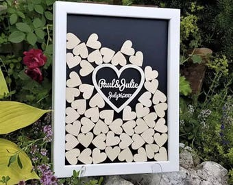 Personalised Customised Wedding Guest Book Drop Box (med) With 60 Wooden Hearts
