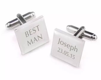 Personalised Customised Square Laser Engraved Cuff Links Wedding Bridal Party