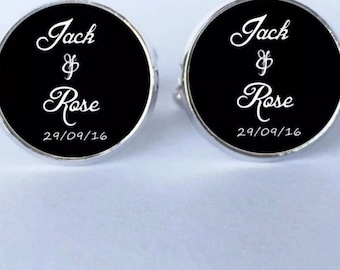 Personalised Customised Cuff Links For Wedding Bridal Party Bomboniere