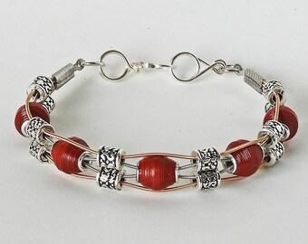 Handmade Paper Bead  & Guitar String Bracelet - Antique Ruby