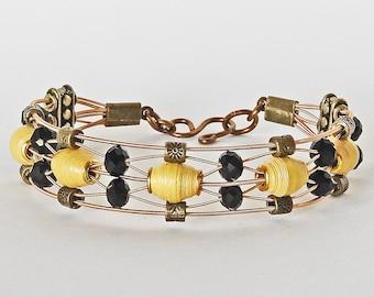 Handmade Paper Bead  & Guitar String Bracelet - Yellow Jacket