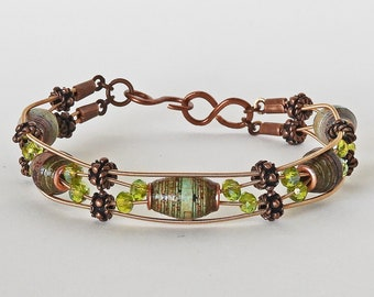 Handmade Paper Bead  & Guitar String Bracelet - Lime and Stone