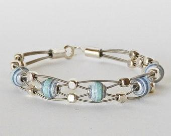 Handmade Paper Bead  & Guitar String Bracelet - Blue Bayou