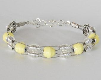 Handmade Paper Bead  & Guitar String Bracelet - Lemon Drop
