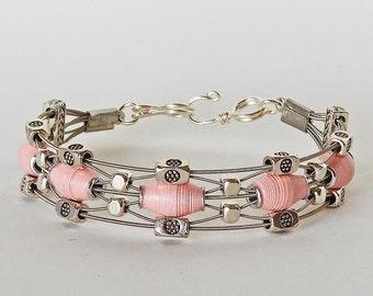 Handmade Paper Bead  & Guitar String Bracelet - Pink Lace